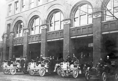 Firemen and engines in front of Fire Hall No. 1 - Cordova Street and Gore Avenue, about 1910, Vancouver City Archives; FD P8.2; http://searcharchives.vancouver.ca/firemen-and-engines-in-front-of-fire-hall-no-1-cordova-street-and-gore-avenue.