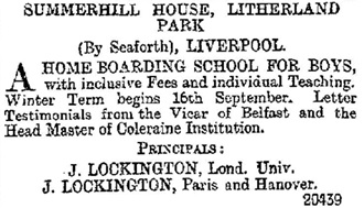 Advertisements & Notices, The Belfast News-Letter (Belfast, Ireland), Issue 24997, August 26, 1895; page 3, column 5