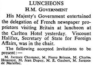 Court Circular, The Times (London, England), Issue 48517, January 19, 1940, page 11.
