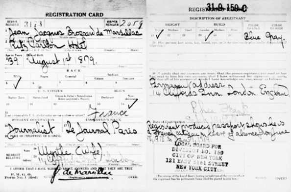 """United States World War I Draft Registration Cards, 1917-1918,"" database with images, FamilySearch (https://familysearch.org/ark:/61903/1:1:K6JZ-SGS : accessed 18 April 2016), Jean Jacques Brossard De Marsillac, 1917-1918; citing New York City no 159, New York, United States, NARA microfilm publication M1509 (Washington D.C.: National Archives and Records Administration, n.d.); FHL microfilm 1,786,850."