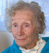 """June Gillrie, 2014, image from """"98-year-old B.C. woman shares letter from father she never met, killed in WW I,"""" by Chris Brown, CBC News, posted November 6, 2014, http://www.cbc.ca/news/canada/98-year-old-b-c-woman-shares-letter-from-father-she-never-met-killed-in-ww-i-1.2826539."""