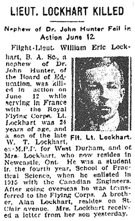 Lieut. Lockhart Killed, Toronto Star, June 19, 1917; http://www.veterans.gc.ca/eng/remembrance/memorials/canadian-virtual-war-memorial/detail/467184?William%20Eric%20Lockhart.