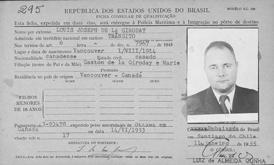 """Brasil, Cartões de Imigração, 1900-1965,"" database with images, FamilySearch (https://familysearch.org/ark:/61903/1:1:V1S1-XRX : accessed 20 April 2016), Louis Joseph de la Giroday, Immigration; citing 1955, Arquivo Nacional, Rio de Janeiro (National Archives, Rio de Janeiro)."
