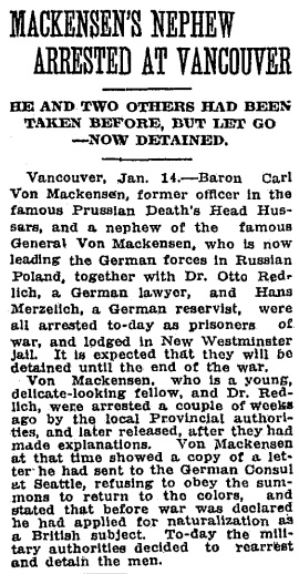 Toronto Globe, January 15, 1915, page 2.