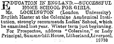 Advertisements & Notices; The Belfast News-Letter (Belfast, Ireland), Issue 23784, September 26, 1891; page 4, column 1.