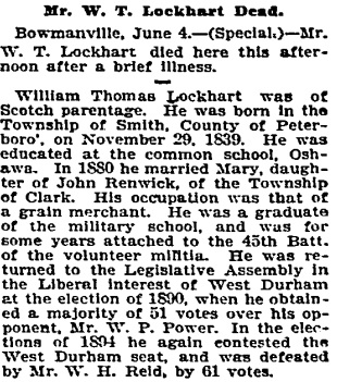 """Mr. W. T. Lockhart Dead,"" Toronto Globe, June 6, 1900, page 2."