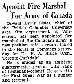 """Appoint Fire Marshal for Army of Canada,"" Ottawa Citizen, May 5, 1942, page 11; https://news.google.com/newspapers?id=kv8uAAAAIBAJ&sjid=ztsFAAAAIBAJ&pg=5345%2C839864."