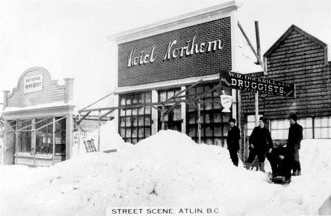 """Street Scene, Atlin, BC""; the National News Depot, the Hotel Northern and W.R. Dockrill and Co. Druggists; British Columbia Archives, Item D-07579; http://search.bcarchives.gov.bc.ca/street-scent-atlin-bc-national-news-depot-hotel-northern-and-w-r-dockrill-and-co-druggists."