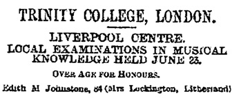 """Trinity College, London,"" Liverpool Mercury (Liverpool, England), Issue 14213, July 24, 1893, page 6, column 7 [edited image]."