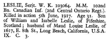 Commonwealth War Graves Commission, W.K. Leslie, http://www.cwgc.org/find-war-dead/casualty/59933/LESLIE,%20W%20K.