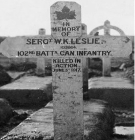 "W.K. Leslie, memorial cross, Villers Station Cemetery, Pas de Calais, France, image from ""98-year-old B.C. woman shares letter from father she never met, killed in WW I,"" by Chris Brown, CBC News, posted November 6, 2014, http://www.cbc.ca/news/canada/98-year-old-b-c-woman-shares-letter-from-father-she-never-met-killed-in-ww-i-1.2826539."