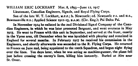 """Honor Roll – From the """"University of Toronto / Roll of Service 1914-1918"""", published in 1921; http://www.veterans.gc.ca/eng/remembrance/memorials/canadian-virtual-war-memorial/detail/467184?William%20Eric%20Lockhart."""