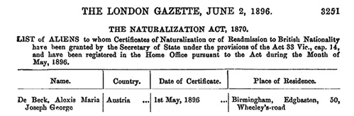 Alexis Maria Joseph George De Beck, naturalization, The London Gazette, June 2, 1896, page 3251; https://www.thegazette.co.uk/London/issue/26745/page/3251: [selected portions of document].