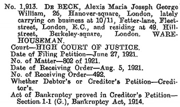 Alexis Maria Joseph George William De Beck, bankruptcy, The London Gazette, August 9, 1921, page 6323; https://www.thegazette.co.uk/London/issue/32416/page/6323/data.pdf.