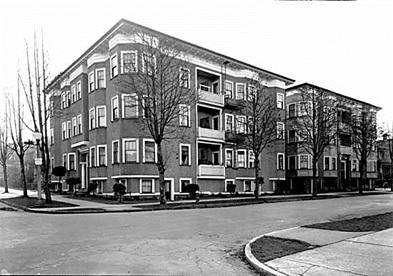 Clifton Apartments, 1460 Nelson Street at Nicola Street, 1940; Leonard Frank ; Vancouver Public Library, VPL 5160; http://pwp.vpl.ca/westendstories/files/2014/09/5160.jpg.