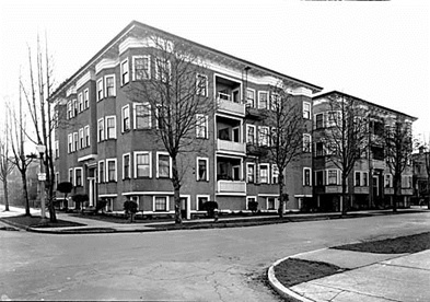 Clifton Apartments, 1460 Nelson Street at Nicola Street, 1940; Leonard Frank ; Vancouver Public Library, VPL 5160; http://pwp.vpl.ca/westendstories/files/2014/09/5160.jpg.