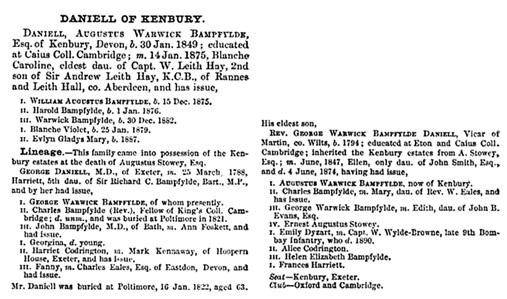 A Genealogical and Heraldic History of the Landed Gentry of Great Britain & Ireland, Volume 1, Bernard Burke, Harrison, 1894; page 462; https://books.google.ca/books?id=93M-AQAAIAAJ&pg=PA462&lpg=PA462&dq=ernest+augustus+stowey+daniell&source=bl&ots=IBfNwj2Sq6&sig=RTua6I_kyTCHKV2xOql7SYmi-dE&hl=en&sa=X&ved=0ahUKEwjcjcyegfbMAhUCw2MKHTecAxoQ6AEIGzAA#v=onepage&q&f=false