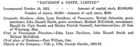 Sessional Papers of the Dominion of Canada, 1923, Department of the Secretary of State, Synopses of Letters Patent, page 144; https://archive.org/stream/n05sessionalpaper59canauoft#page/144/mode/1up.