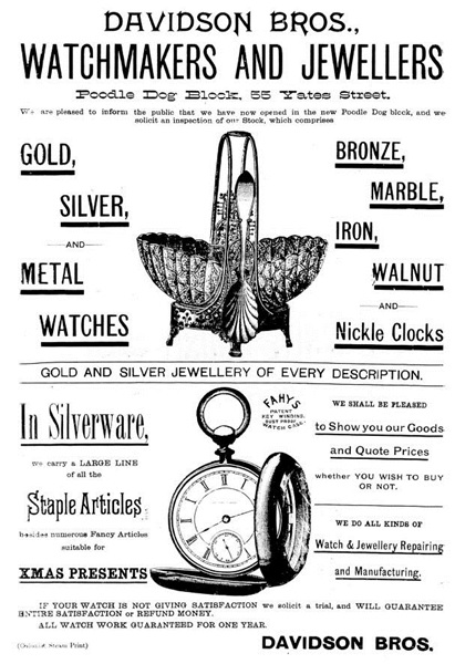 Victoria Daily Colonist, December 3, 1889, page 4 (separate advertising page); http://archive.org/stream/dailycolonist18891203uvic/18891203#page/n4/mode/1up