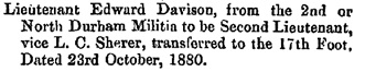The London Gazette, October 22, 1880, Issue 24894, page 5383; https://www.thegazette.co.uk/London/issue/24894/page/5383.