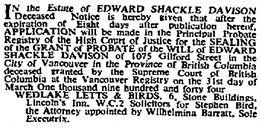 The Times (London, England), November 16, 1944, Issue 49993/2, page 10.