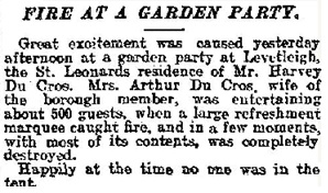 """Fire at a Garden Party,"" Daily Mail (London, England), Issue 4128, July 3, 1909; page 3."