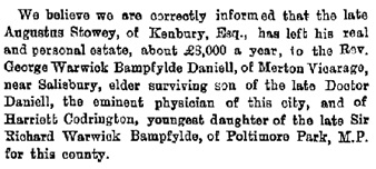 Births, Deaths, Marriages and Obituaries, The Western Times (Exeter, England), Thursday, Issue 3843, September 15, 1870, page 2.