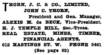 Henderson's Greater Vancouver Directory, 1911, Part 2, page 1152