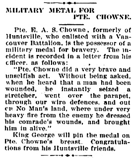 Huntsville Forester, Huntsville, Ontario Edition 23 Nov, 1916, page 4; http://communitydigitalarchives.com/huntsville-forester/1916-11-23/4/newspapers.html#.