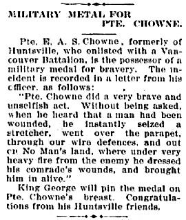 Huntsville Forester, Huntsville, Ontario Edition 23 Nov, 1916, page 4; http://communitydigitalarchives.com/huntsville-forester/1916-11-23/4/newspapers.html#.
