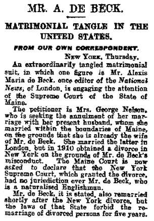 """Mr. A. De Beck; Matrimonial Tangle in the United States; From our Own Correspondent,"" Daily Mail (London, England), Issue 7763, February 25, 1921; page 5."