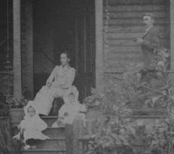 "Mr. and Mrs. Tregent and their two daughters, detail from ""Exterior of the A.E. Tregent residence - 818 Nicola Street,"" about 1890 - Vancouver City Archives, Bu P545; http://searcharchives.vancouver.ca/exterior-of-e-tregent-residence-818-nicola-street."
