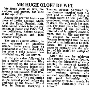 """Mr Hugh Oloff De Wet,"" The Times (London, England), Issue 59563, November 27, 1975; page 16."