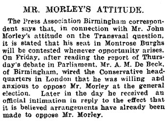 """Mr. Morley's Attitude,"" Evening Express, October 21, 1899, page 4; http://newspapers.library.wales/view/3464693/3464697/95/."
