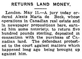 Toronto World, May 12, 1919, page 9; https://news.google.com/newspapers?id=5UcBAAAAIBAJ&sjid=HykDAAAAIBAJ&pg=1197%2C2562051