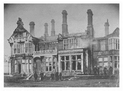 The burnt house of Mr. Arthur du Cros MP: 1913; http://www.museumoflondonprints.com/image/418130/the-burnt-house-of-mr-arthur-du-cros-mp-1913.