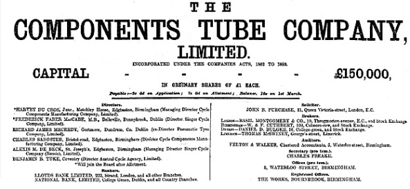 The Components Tube Company, Limited, The Financial Times (London, England); Edition 2,746, January 30, 1897; page 8.
