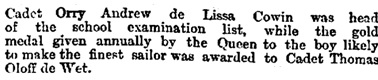"""""""The Thames Nautical Training College,"""" The Morning Post (London, England), Issue 35915, July 29, 1887; page 6."""