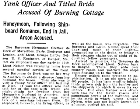 """Yank Officer and Titled Bride Accused of Burning Cottage,"" Chattanooga News, June 18, 1920, page 12, http://chroniclingamerica.loc.gov/lccn/sn85038531/1920-06-18/ed-1/seq-12/."