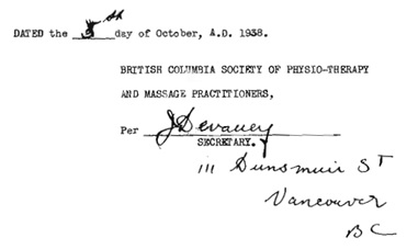 B.C. Society of Physiotherapy and Massage Practitioners, notice of appointment of board of councillors; October 5, 1938; https://www.rmtbc.ca/sites/default/files/files/1938.pdf [selected portions of image].