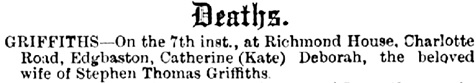 Births, Deaths, Marriages and Obituaries; Tamworth Herald (Tamworth, England), Issue 1137, June 14, 1890, page 5.