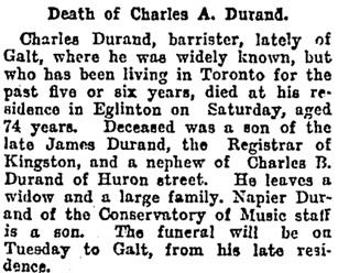 Charles A. Durand, obituary, Toronto Globe, November 21, 1904, page 12