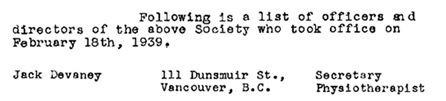 Grossman, Holland and Company, letter to British Columbia Registrar of Companies, B.C. Society of Physiotherapy and Massage Practitioners; https://www.rmtbc.ca/sites/default/files/files/1939.pdf [selected portions of image].