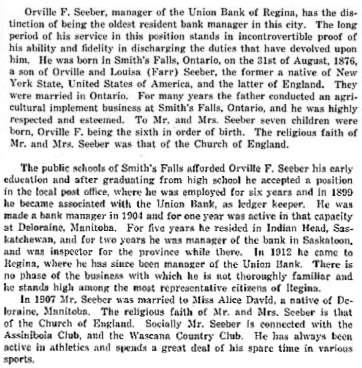 Orville F. Seeber, The Story of Saskatchewan and its people. Volume 3, by John Hawkes; Regina, S.J. Clarke Publishing Company, 1924, page 1801; http://www.ourroots.ca/e/page.aspx?id=165496; page 1802, http://www.ourroots.ca/e/page.aspx?id=165497.