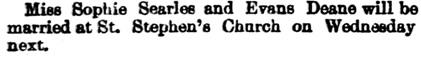Daily Alta California, Volume 39, Number 12925, 3 August 1885; page 7, http://cdnc.ucr.edu/cgi-bin/cdnc?a=d&d=DAC18850803.2.63.1&srpos=2&e=--1860---1900--en--20--1--txt-txIN-evans+deane-------1