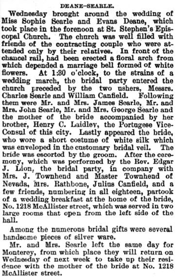 Daily Alta California, Volume 39, Number 12932, 10 August 1885, page 7; http://cdnc.ucr.edu/cgi-bin/cdnc?a=d&d=DAC18850810.2.54.2&srpos=87&e=--1860---1900--en--20--81--txt-txIN-evans+deane-------1