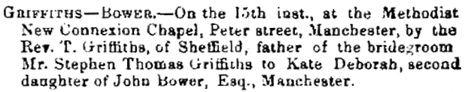 Births, Deaths, Marriages and Obituaries, Sheffield & Rotherham Independent, Issue 2010, April 24, 1858, page 5.
