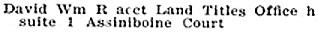 Winnipeg: Henderson Directories, 1911, page 617; http://peel.library.ualberta.ca/bibliography/921.3.12/643.html.