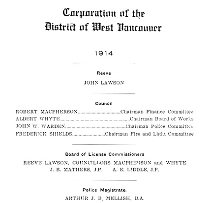 Corporation of the District of West Vancouver, British Columbia, 1913, Financial Statement; page 2 of PDF document; http://archives.westvancouver.ca/PDFs/0990.0002.DWV.pdf