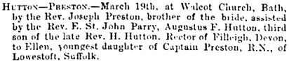 Births, Deaths, Marriages and Obituaries, The Essex Standard, and General Advertiser for the Eastern Counties (Colchester, England), Issue 2153, March 22, 1872, page 3, column 5.